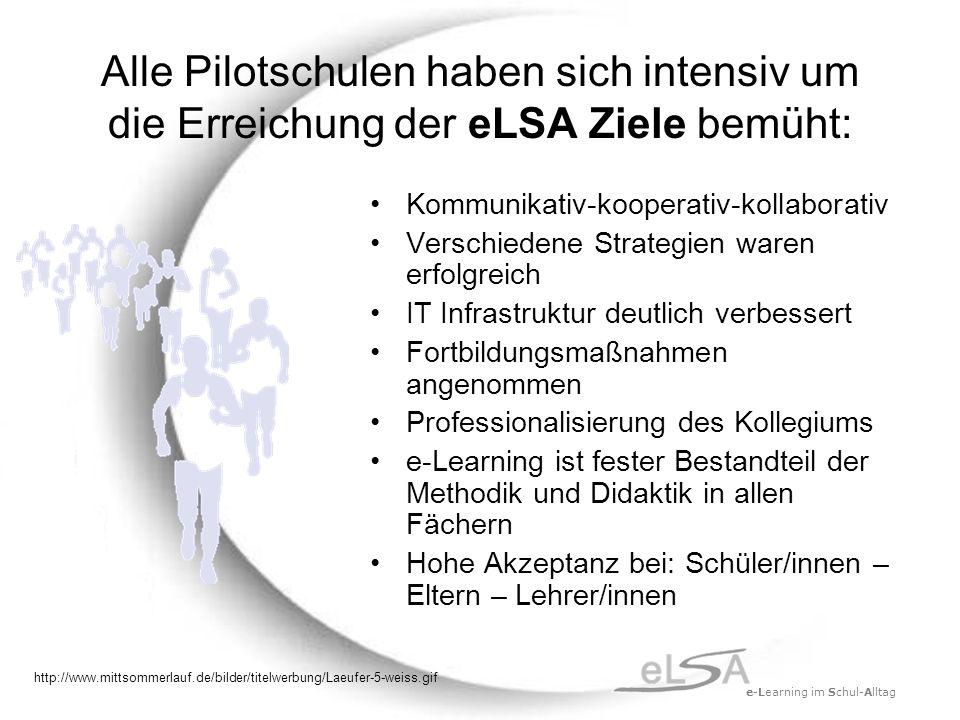 e-Learning im Schul-Alltag Alle Pilotschulen haben sich intensiv um die Erreichung der eLSA Ziele bemüht: Kommunikativ-kooperativ-kollaborativ Verschiedene Strategien waren erfolgreich IT Infrastruktur deutlich verbessert Fortbildungsmaßnahmen angenommen Professionalisierung des Kollegiums e-Learning ist fester Bestandteil der Methodik und Didaktik in allen Fächern Hohe Akzeptanz bei: Schüler/innen – Eltern – Lehrer/innen http://www.mittsommerlauf.de/bilder/titelwerbung/Laeufer-5-weiss.gif