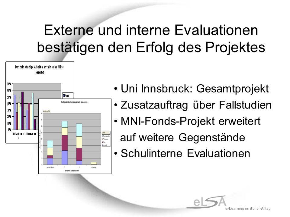 e-Learning im Schul-Alltag Externe und interne Evaluationen bestätigen den Erfolg des Projektes Uni Innsbruck: Gesamtprojekt Zusatzauftrag über Fallstudien MNI-Fonds-Projekt erweitert auf weitere Gegenstände Schulinterne Evaluationen