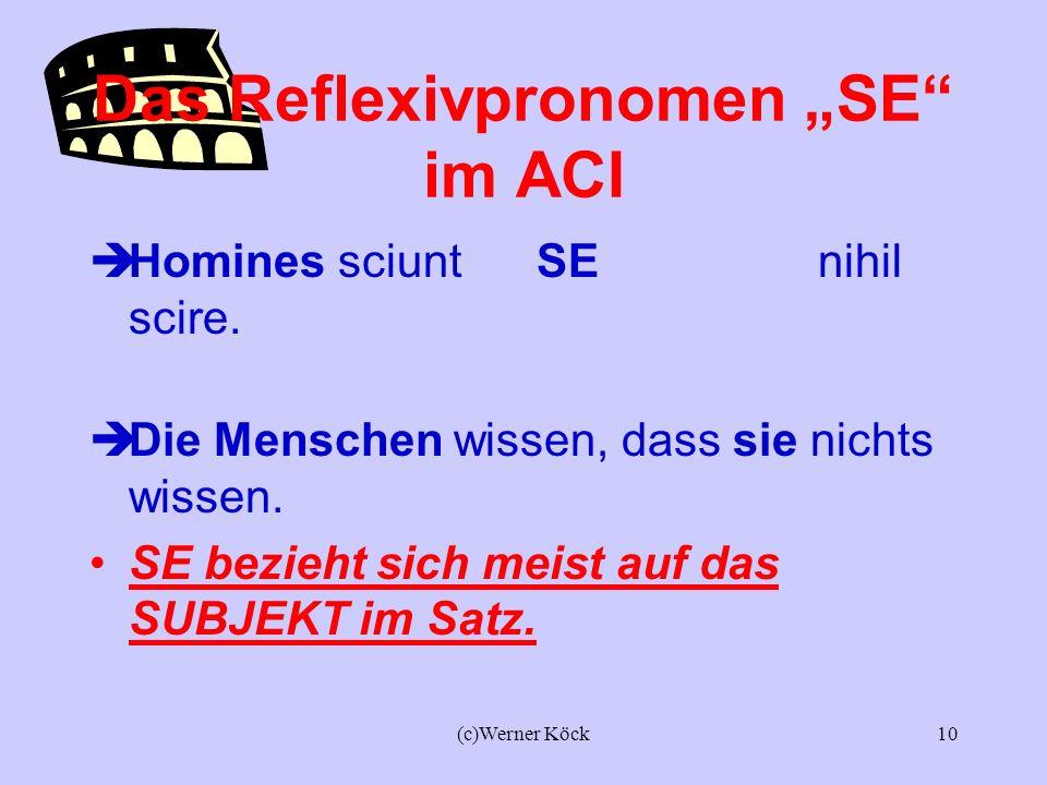 (c)Werner Köck9 Das Reflexivpronomen SE im ACI Subjektsakkusativ Socrates scit SE nihil scire. Sokrates weiß, dass er nichts weiß. Claudia scit SE nih