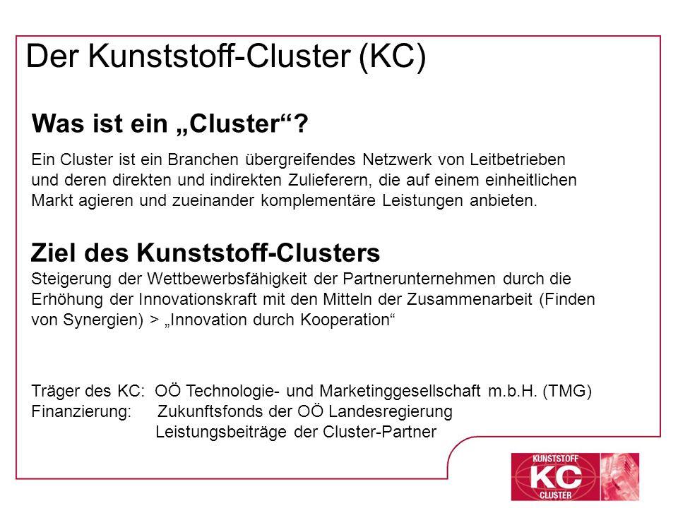 Der Kunststoff-Cluster (KC) Was ist ein Cluster? Ein Cluster ist ein Branchen übergreifendes Netzwerk von Leitbetrieben und deren direkten und indirek