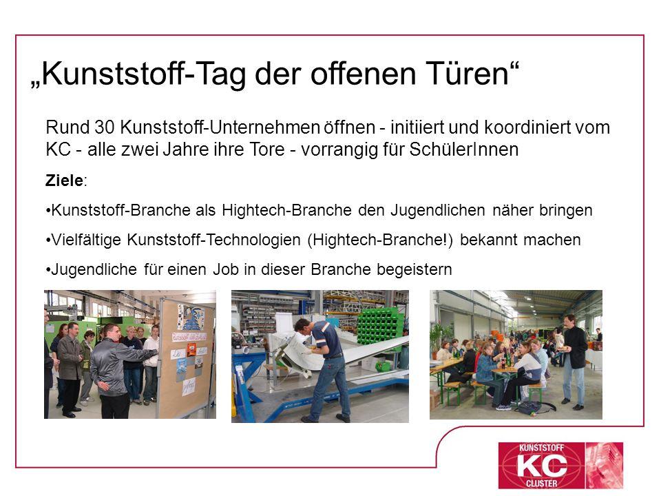 Rund 30 Kunststoff-Unternehmen öffnen - initiiert und koordiniert vom KC - alle zwei Jahre ihre Tore - vorrangig für SchülerInnen Ziele: Kunststoff-Br