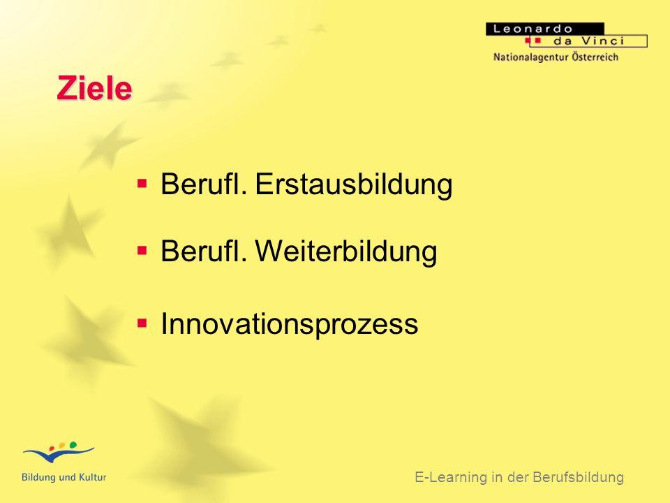 BSO 31.03.2003 5 Maßnahmen Mobilitätsprojekt Sprachenprojekt E-Learning in der Berufsbildung Pilotprojekt Transnationales Netz Vergleichsmaterial