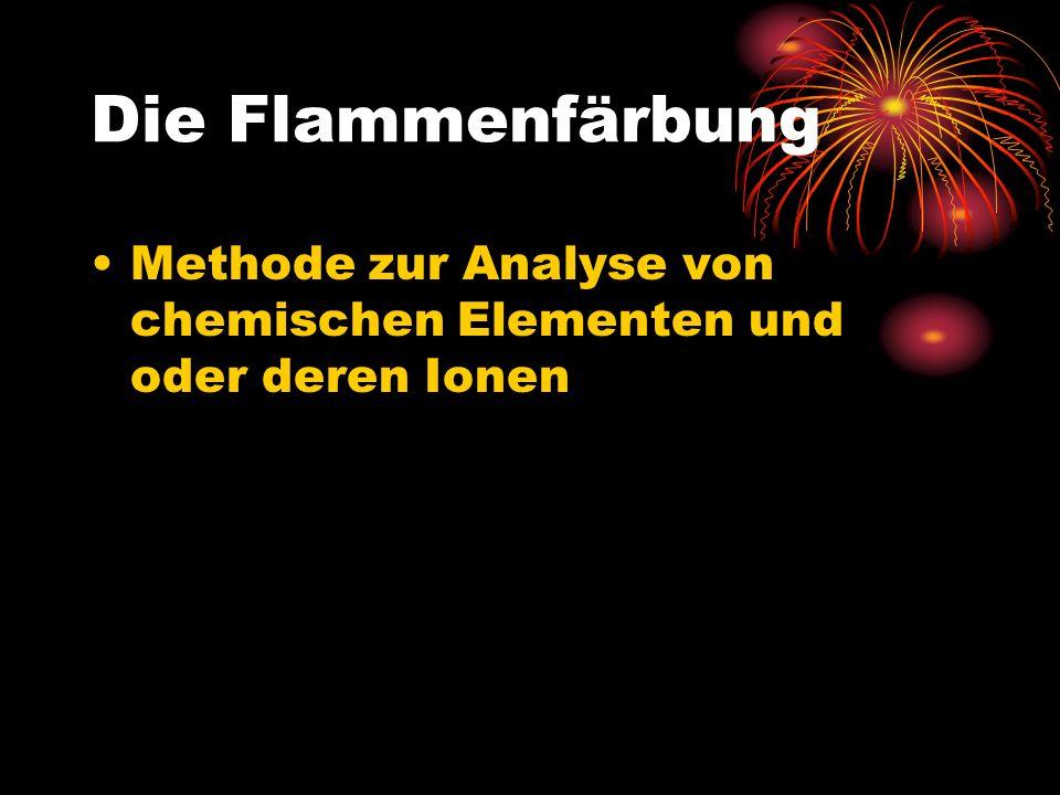 Die Flammenfärbung Methode zur Analyse von chemischen Elementen und oder deren Ionen