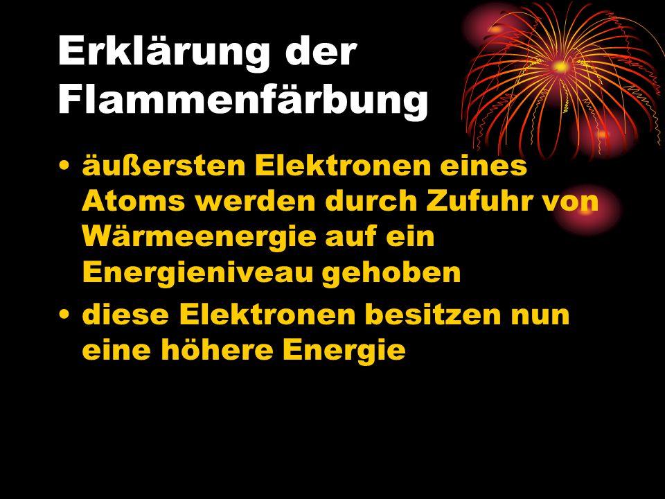 negativ geladene Elektronen fallen aber auf ein energieärmeres Energieniveau zurück beim Zurückfallen frei werdende Energie wird als Photon (Lichtteilchen) abgegeben © http://www.experimentalchemie.de/bilder01/versuch-048/atomkern.gif