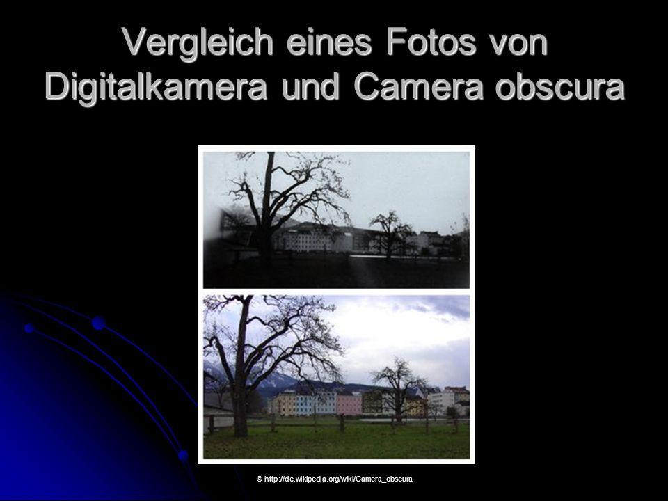 Vergleich eines Fotos von Digitalkamera und Camera obscura © http://de.wikipedia.org/wiki/Camera_obscura