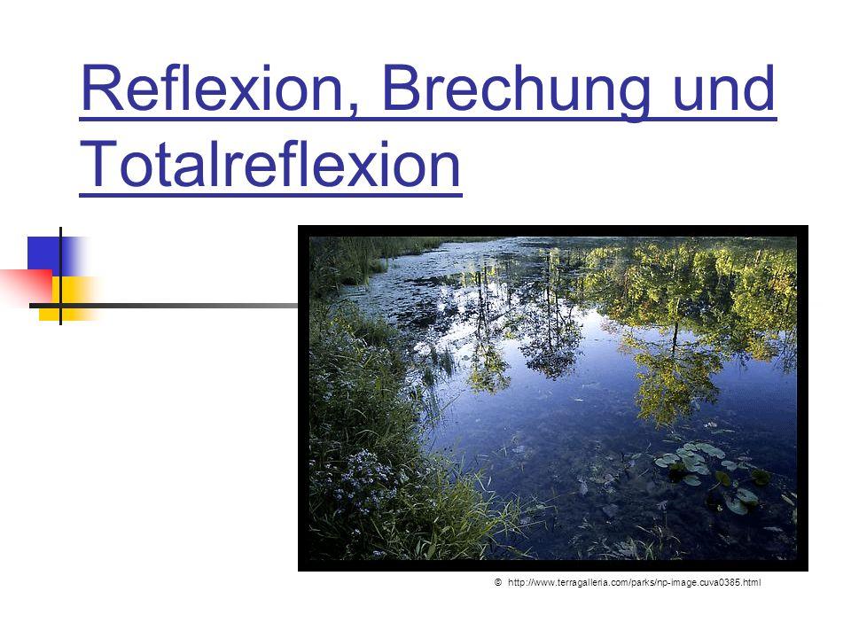 Reflexion, Brechung und Totalreflexion © http://www.terragalleria.com/parks/np-image.cuva0385.html