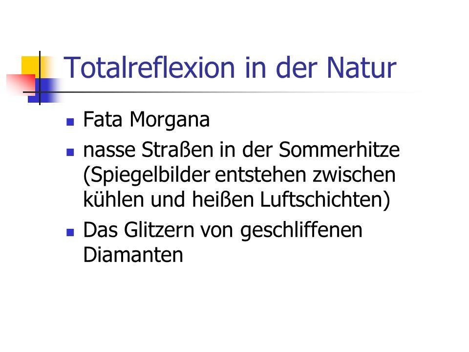 Totalreflexion in der Natur Fata Morgana nasse Straßen in der Sommerhitze (Spiegelbilder entstehen zwischen kühlen und heißen Luftschichten) Das Glitzern von geschliffenen Diamanten