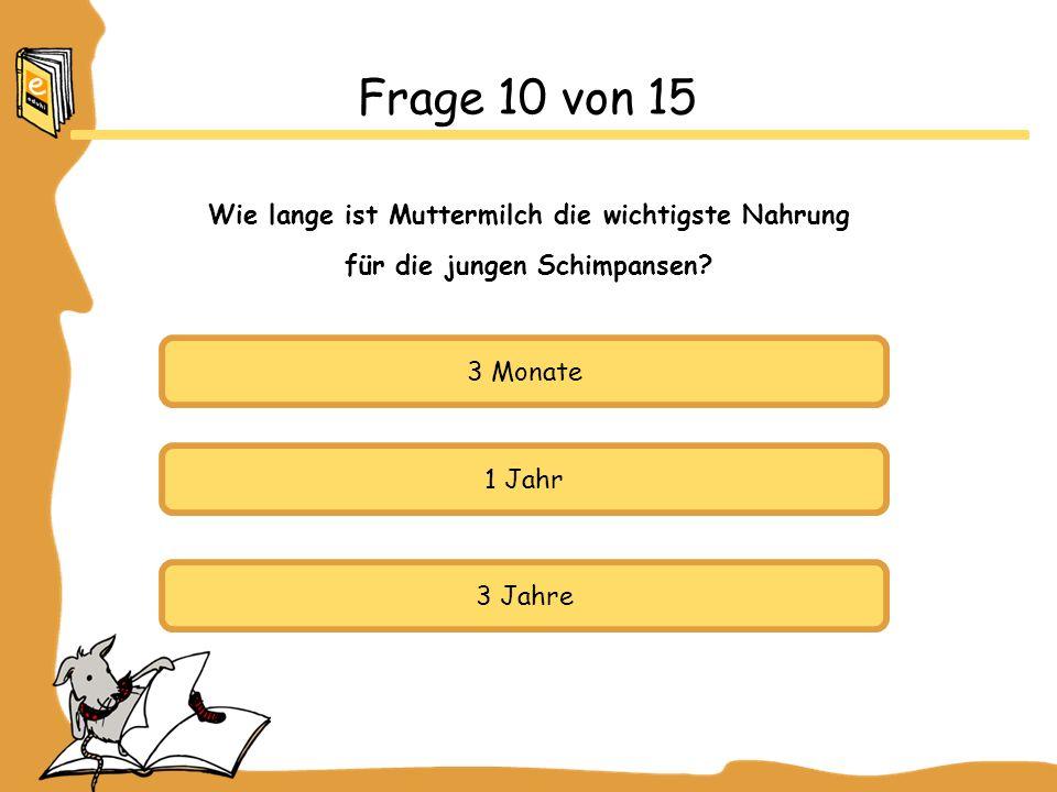 3 Monate 1 Jahr 3 Jahre Frage 10 von 15 Wie lange ist Muttermilch die wichtigste Nahrung für die jungen Schimpansen?