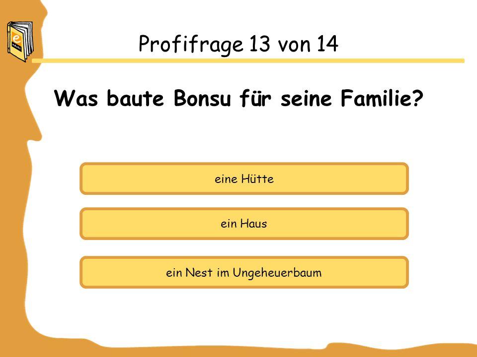 Profifrage 13 von 14 Was baute Bonsu für seine Familie.