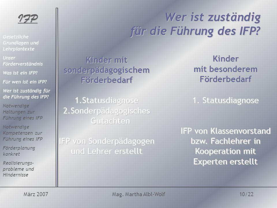 IFP März 2007Mag. Martha Albl-Wolf10/22 Wer ist zuständig für die Führung des IFP.