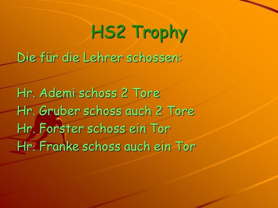 HS2 Trophy Die für die Lehrer schossen: Hr. Ademi schoss 2 Tore Hr.
