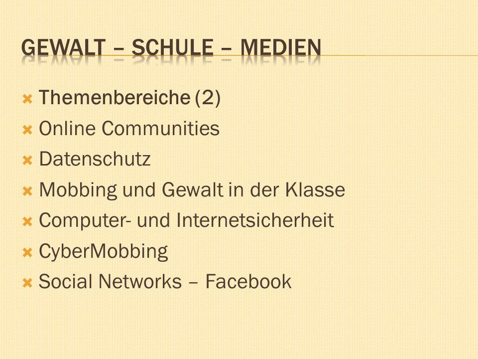 Themenbereiche (2) Online Communities Datenschutz Mobbing und Gewalt in der Klasse Computer- und Internetsicherheit CyberMobbing Social Networks – Facebook