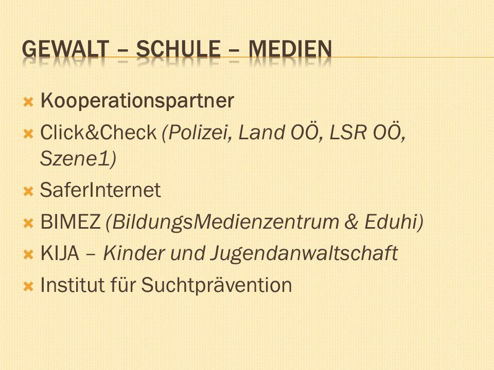 Kooperationspartner Click&Check (Polizei, Land OÖ, LSR OÖ, Szene1) SaferInternet BIMEZ (BildungsMedienzentrum & Eduhi) KIJA – Kinder und Jugendanwaltschaft Institut für Suchtprävention
