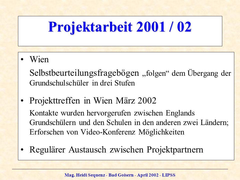 Mag. Heidi Sequenz - Bad Goisern - April 2002 - LIPSS Projektarbeit 2001 / 02 Wien Selbstbeurteilungsfragebögen folgen dem Übergang der Grundschulschü