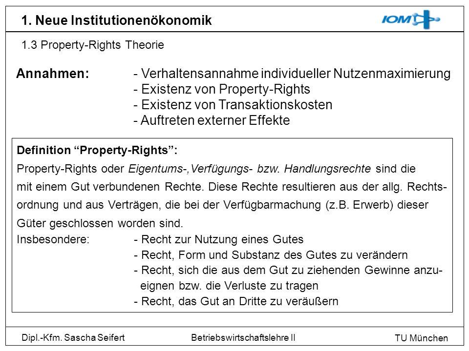 Dipl.-Kfm. Sascha Seifert TU München Betriebswirtschaftslehre II 1. Neue Institutionenökonomik 1.3 Property-Rights Theorie Definition Property-Rights: