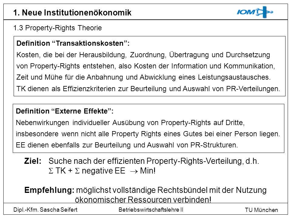 Dipl.-Kfm. Sascha Seifert TU München Betriebswirtschaftslehre II 1. Neue Institutionenökonomik 1.3 Property-Rights Theorie Definition Transaktionskost