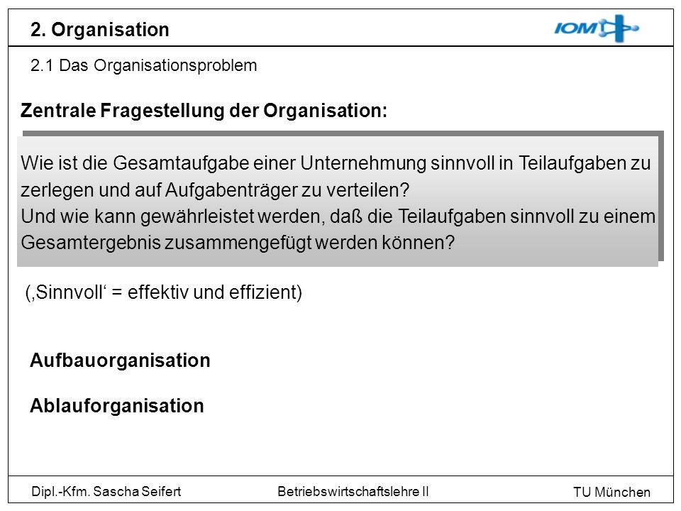 Dipl.-Kfm. Sascha Seifert TU München Betriebswirtschaftslehre II 2. Organisation 2.1 Das Organisationsproblem Zentrale Fragestellung der Organisation: