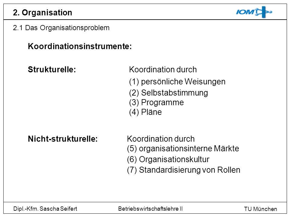 Dipl.-Kfm. Sascha Seifert TU München Betriebswirtschaftslehre II 2. Organisation 2.1 Das Organisationsproblem Koordinationsinstrumente: Strukturelle:K