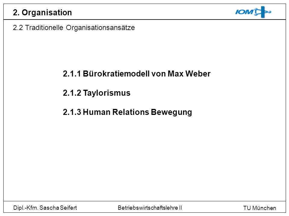 Dipl.-Kfm. Sascha Seifert TU München Betriebswirtschaftslehre II 2. Organisation 2.2 Traditionelle Organisationsansätze 2.1.1 Bürokratiemodell von Max