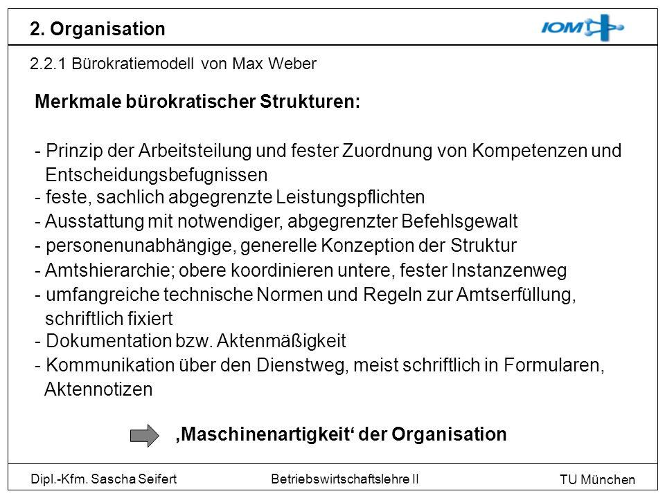 Dipl.-Kfm. Sascha Seifert TU München Betriebswirtschaftslehre II 2. Organisation 2.2.1 Bürokratiemodell von Max Weber Merkmale bürokratischer Struktur