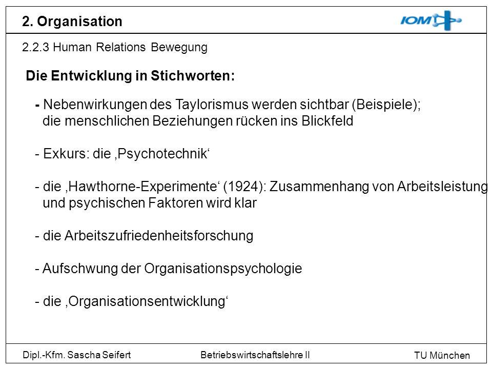 Dipl.-Kfm. Sascha Seifert TU München Betriebswirtschaftslehre II 2. Organisation 2.2.3 Human Relations Bewegung Die Entwicklung in Stichworten: - Nebe