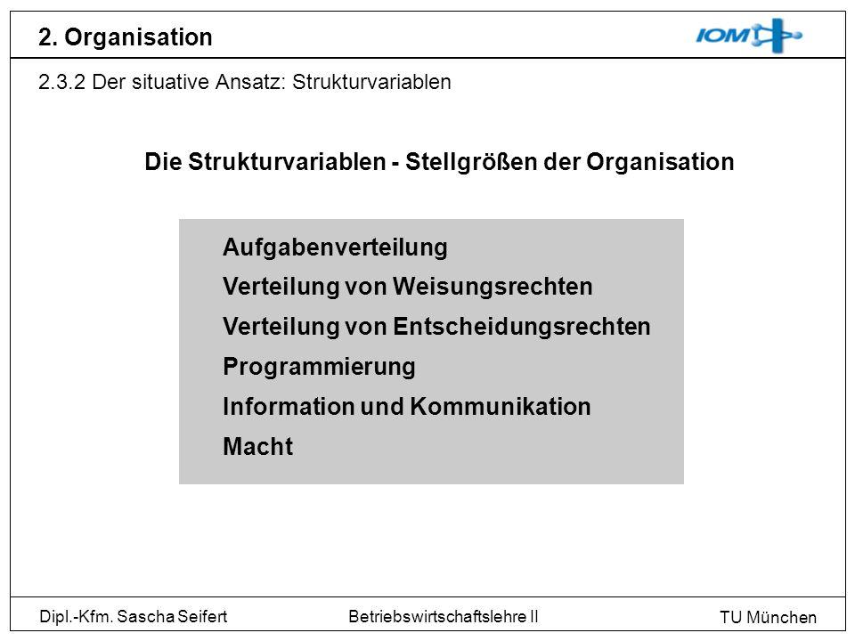 Dipl.-Kfm. Sascha Seifert TU München Betriebswirtschaftslehre II 2. Organisation 2.3.2 Der situative Ansatz: Strukturvariablen Aufgabenverteilung Vert