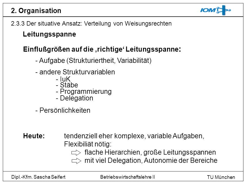 Dipl.-Kfm. Sascha Seifert TU München Betriebswirtschaftslehre II 2. Organisation 2.3.3 Der situative Ansatz: Verteilung von Weisungsrechten Leitungssp
