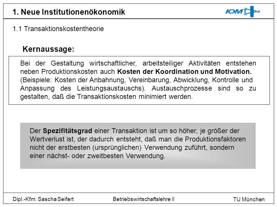 Dipl.-Kfm. Sascha Seifert TU München Betriebswirtschaftslehre II 1. Neue Institutionenökonomik 1.1 Transaktionskostentheorie Bei der Gestaltung wirtsc