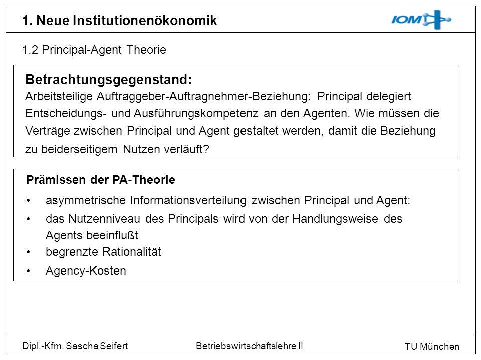 Dipl.-Kfm. Sascha Seifert TU München Betriebswirtschaftslehre II 1. Neue Institutionenökonomik 1.2 Principal-Agent Theorie Prämissen der PA-Theorie as
