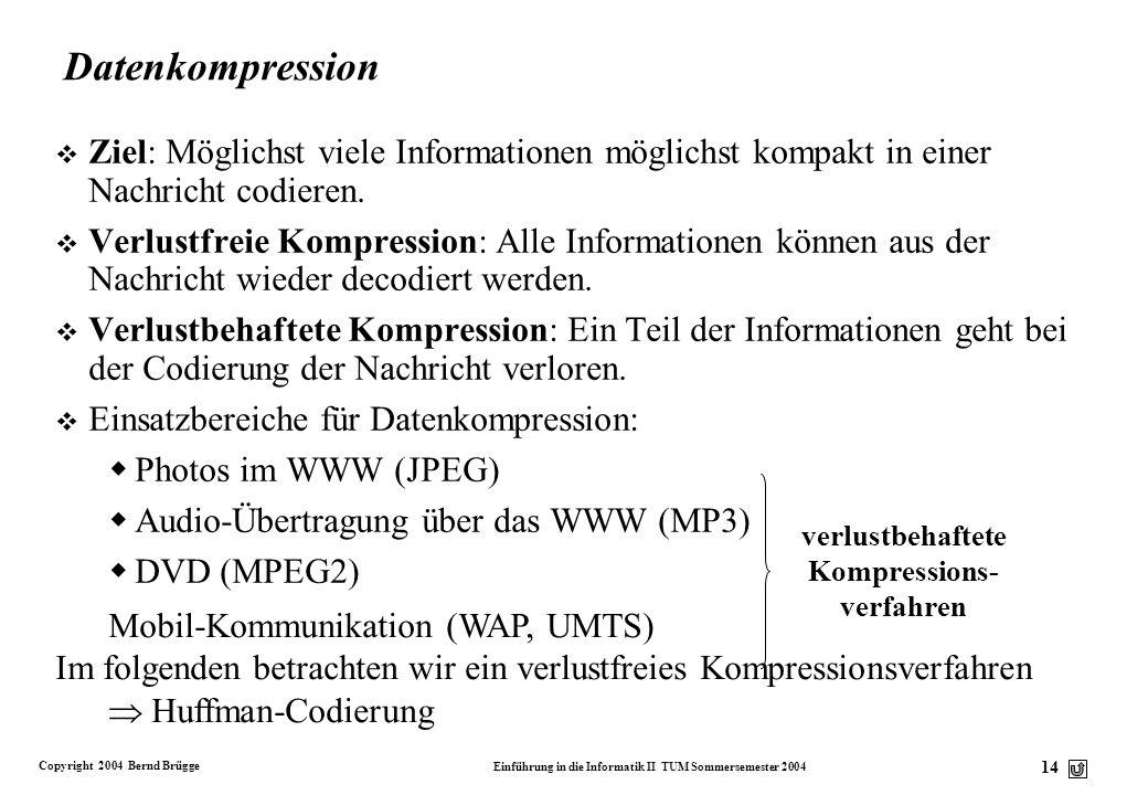 Copyright 2004 Bernd Brügge Einführung in die Informatik II TUM Sommersemester 2004 14 Datenkompression v Ziel: Möglichst viele Informationen möglichs