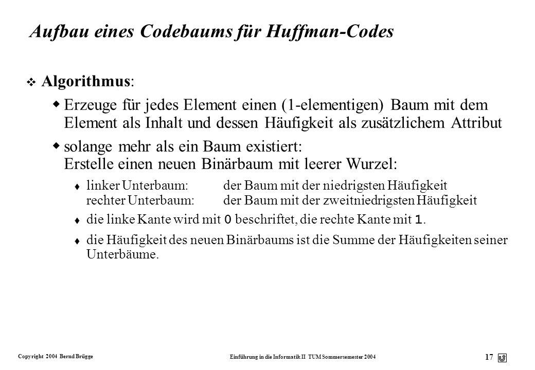 Copyright 2004 Bernd Brügge Einführung in die Informatik II TUM Sommersemester 2004 17 Aufbau eines Codebaums für Huffman-Codes v Algorithmus: Erzeuge
