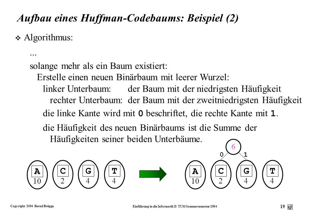 Copyright 2004 Bernd Brügge Einführung in die Informatik II TUM Sommersemester 2004 19 Aufbau eines Huffman-Codebaums: Beispiel (2) v Algorithmus: Ers