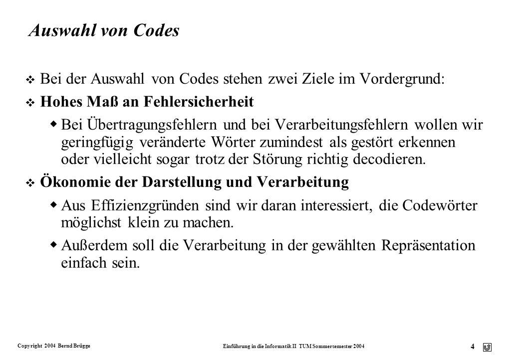 Copyright 2004 Bernd Brügge Einführung in die Informatik II TUM Sommersemester 2004 15 Beispiel für verlustfreie Codierung: Huffman-Code v Problembeschreibung: Wir wollen eine lange Nachricht komprimieren (z.B.