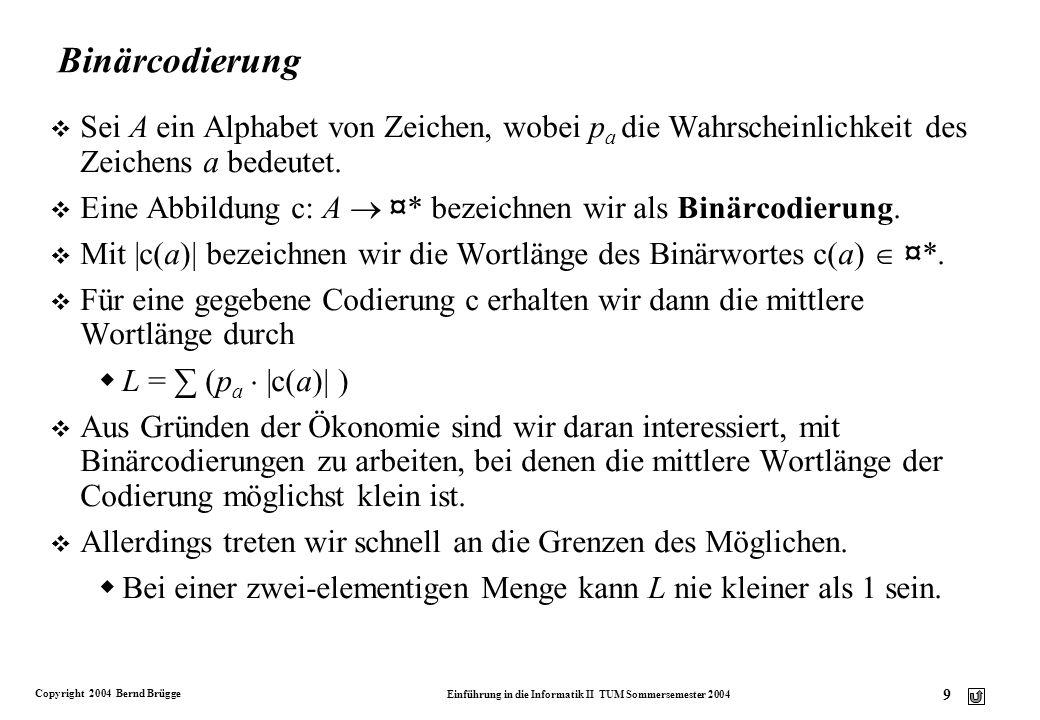 Copyright 2004 Bernd Brügge Einführung in die Informatik II TUM Sommersemester 2004 20 Aufbau eines Huffman-Codebaums: Beispiel (3) A 10 C 2 G 4 T 4 10 A C 2 G 4 T 4 6 1 0 A T 4 C 2 G 4 6 1 0 A 1 0 20 1 0 T 4 C 2 G 4 6 1 0 10 Häufigkeit von T ist kleiner als Häufigkeit von C und G T linker Unterbaum