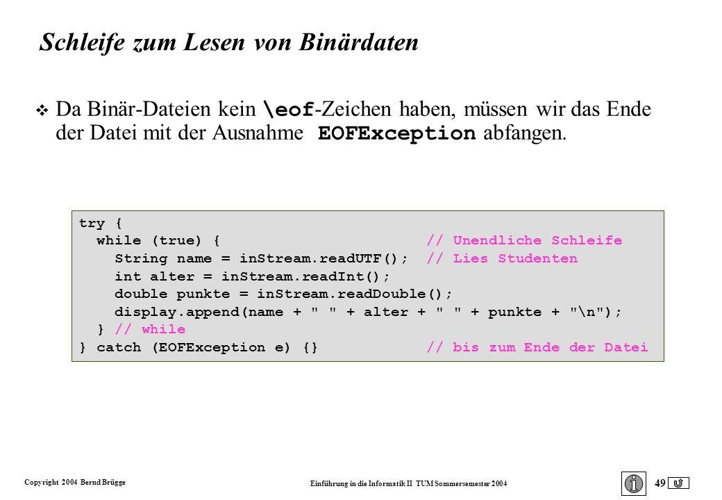 Copyright 2004 Bernd Brügge Einführung in die Informatik II TUM Sommersemester 2004 49 try { while (true) { // Unendliche Schleife String name = inStream.readUTF(); // Lies Studenten int alter = inStream.readInt(); double punkte = inStream.readDouble(); display.append(name + + alter + + punkte + \n ); } // while } catch (EOFException e) {} // bis zum Ende der Datei Schleife zum Lesen von Binärdaten Da Binär-Dateien kein \eof -Zeichen haben, müssen wir das Ende der Datei mit der Ausnahme EOFException abfangen.