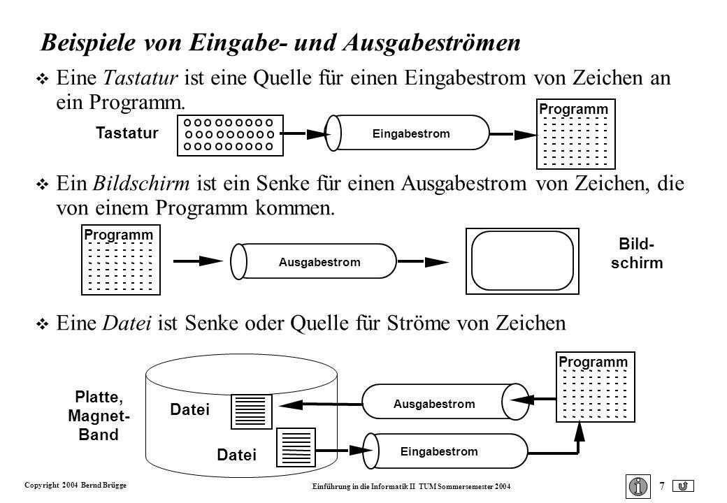 Copyright 2004 Bernd Brügge Einführung in die Informatik II TUM Sommersemester 2004 7 Platte, Magnet- Band Beispiele von Eingabe- und Ausgabeströmen v Eine Tastatur ist eine Quelle für einen Eingabestrom von Zeichen an ein Programm.