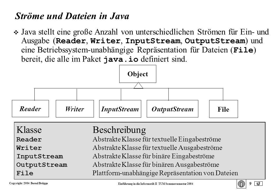 Copyright 2004 Bernd Brügge Einführung in die Informatik II TUM Sommersemester 2004 9 Ströme und Dateien in Java Java stellt eine große Anzahl von unterschiedlichen Strömen für Ein- und Ausgabe ( Reader, Writer, InputStream, OutputStream ) und eine Betriebssystem-unabhängige Repräsentation für Dateien ( File ) bereit, die alle im Paket java.io definiert sind.