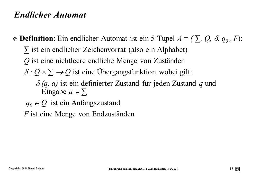 Copyright 2004 Bernd Brügge Einführung in die Informatik II TUM Sommersemester 2004 12 Verfeinert Modellierung des Problems HKZW- KW-HZ Z Z HKW-ZK-HWZ