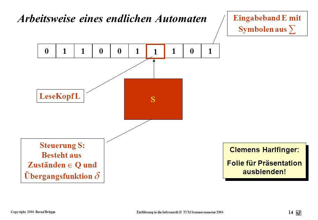 Copyright 2004 Bernd Brügge Einführung in die Informatik II TUM Sommersemester 2004 13 Endlicher Automat v Definition: Ein endlicher Automat ist ein 5
