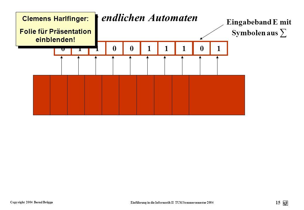 Copyright 2004 Bernd Brügge Einführung in die Informatik II TUM Sommersemester 2004 14 0 Arbeitsweise eines endlichen Automaten 011010101 S 1 LeseKopf