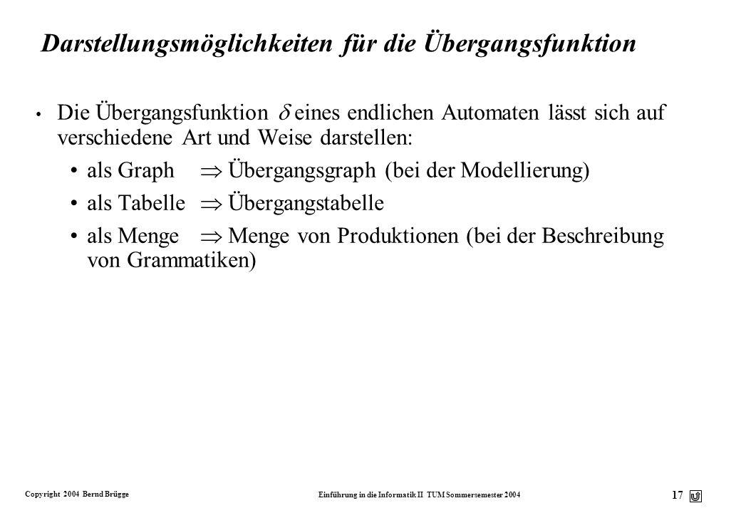 Copyright 2004 Bernd Brügge Einführung in die Informatik II TUM Sommersemester 2004 16 0011010101 Ein endlicher Automat ist ein Algorithmus Unser Mode