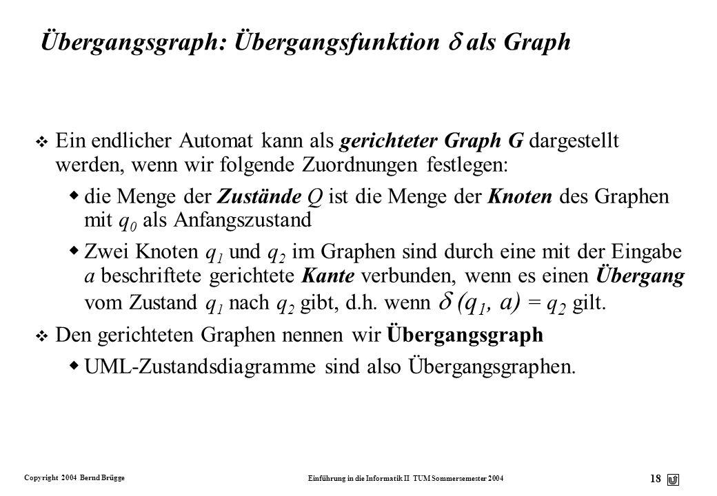 Copyright 2004 Bernd Brügge Einführung in die Informatik II TUM Sommersemester 2004 17 Darstellungsmöglichkeiten für die Übergangsfunktion Die Übergan