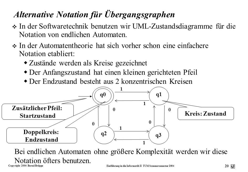 Copyright 2004 Bernd Brügge Einführung in die Informatik II TUM Sommersemester 2004 19 Beispiel für einen Übergangsgraphen v Wir wollen einen Prüfer b
