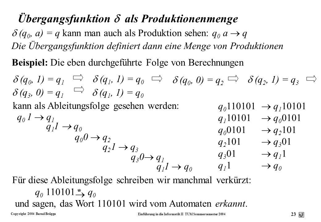 Copyright 2004 Bernd Brügge Einführung in die Informatik II TUM Sommersemester 2004 22 Eingabe 01 q0q0 q1q1 q3q3 Zustand q2q2 q2q2 q1q1 q3q3 q0q0 q0q0