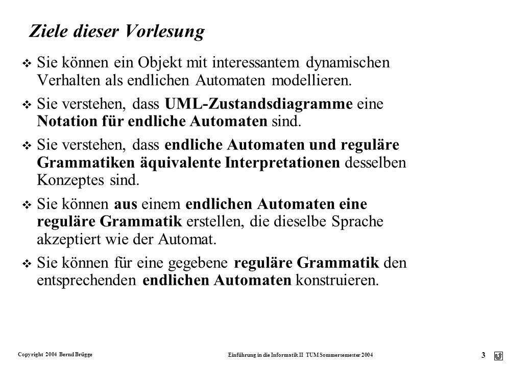 Copyright 2004 Bernd Brügge Einführung in die Informatik II TUM Sommersemester 2004 2 Organisatorisches: Planung der restlichen Vorlesungen v 29. Juni