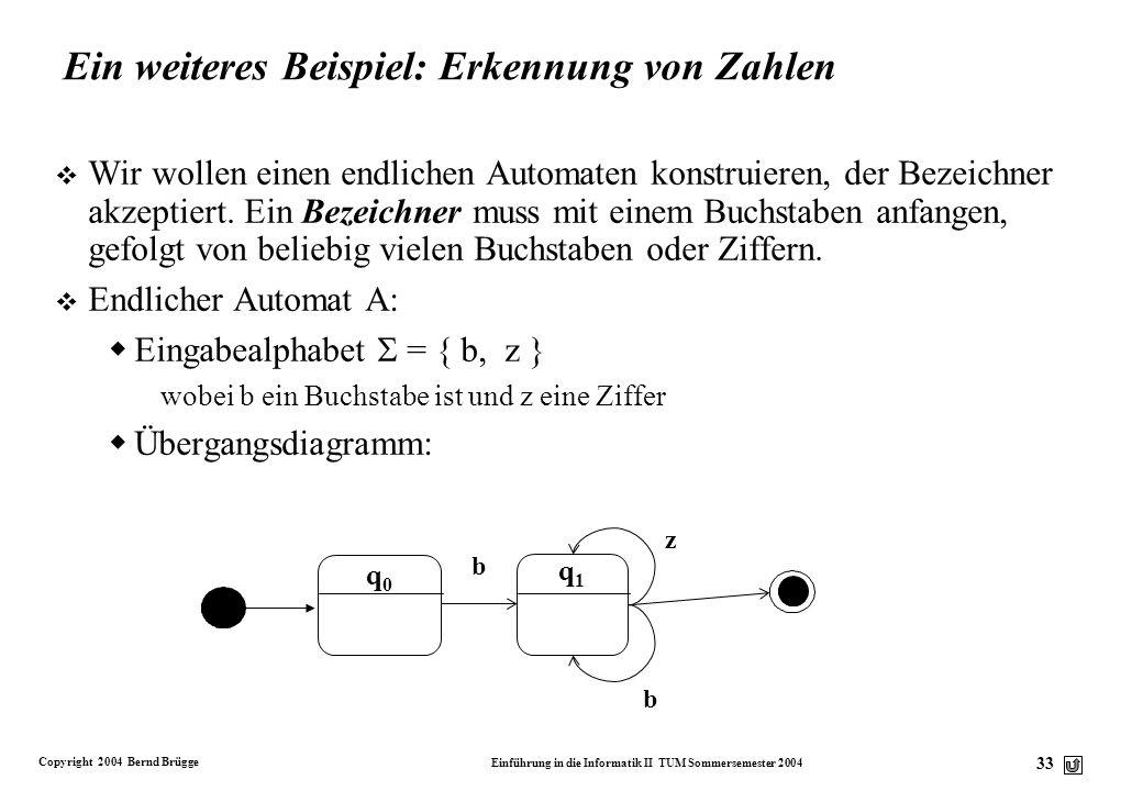 Copyright 2004 Bernd Brügge Einführung in die Informatik II TUM Sommersemester 2004 32 Nichtdeterministischer endlicher Automat v Bisher haben wir ang