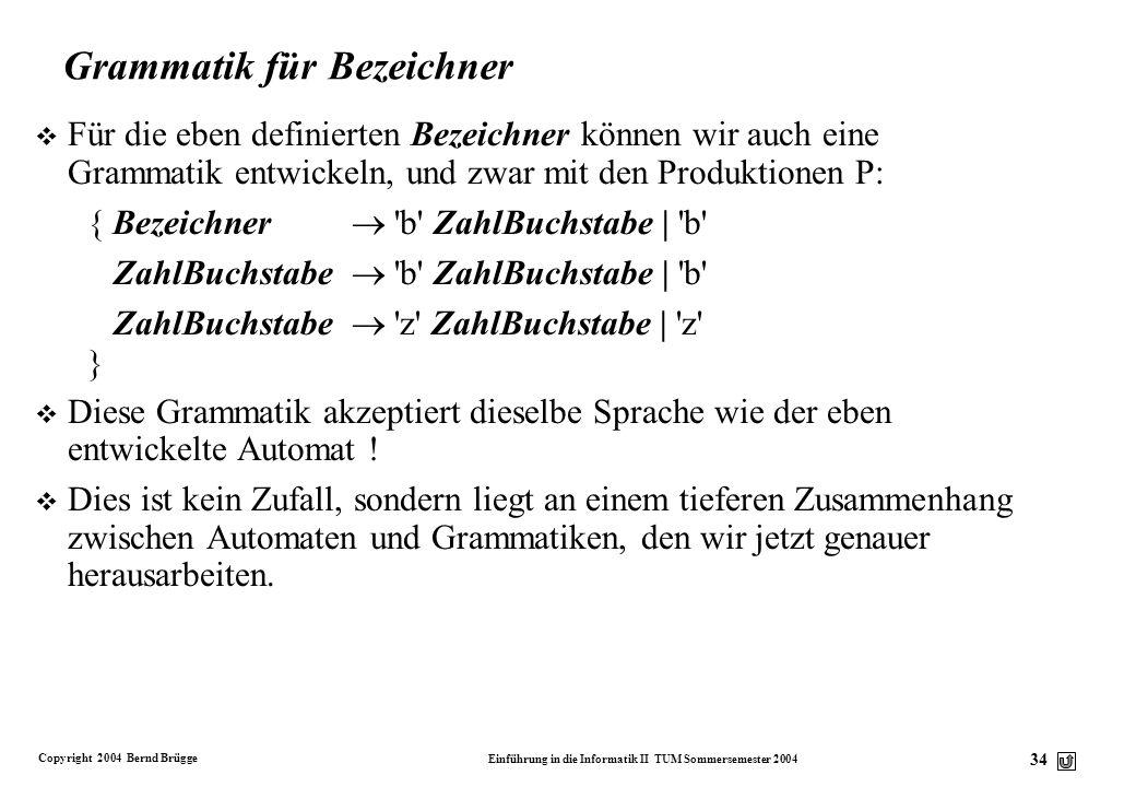Copyright 2004 Bernd Brügge Einführung in die Informatik II TUM Sommersemester 2004 33 Ein weiteres Beispiel: Erkennung von Zahlen v Wir wollen einen