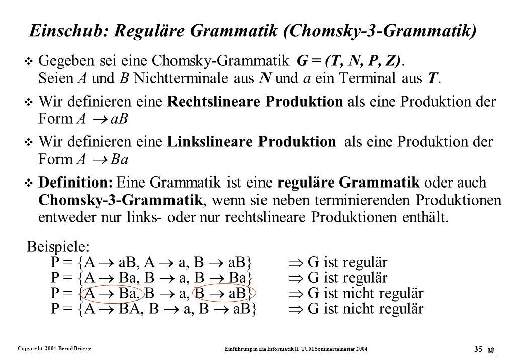 Copyright 2004 Bernd Brügge Einführung in die Informatik II TUM Sommersemester 2004 34 Grammatik für Bezeichner v Für die eben definierten Bezeichner