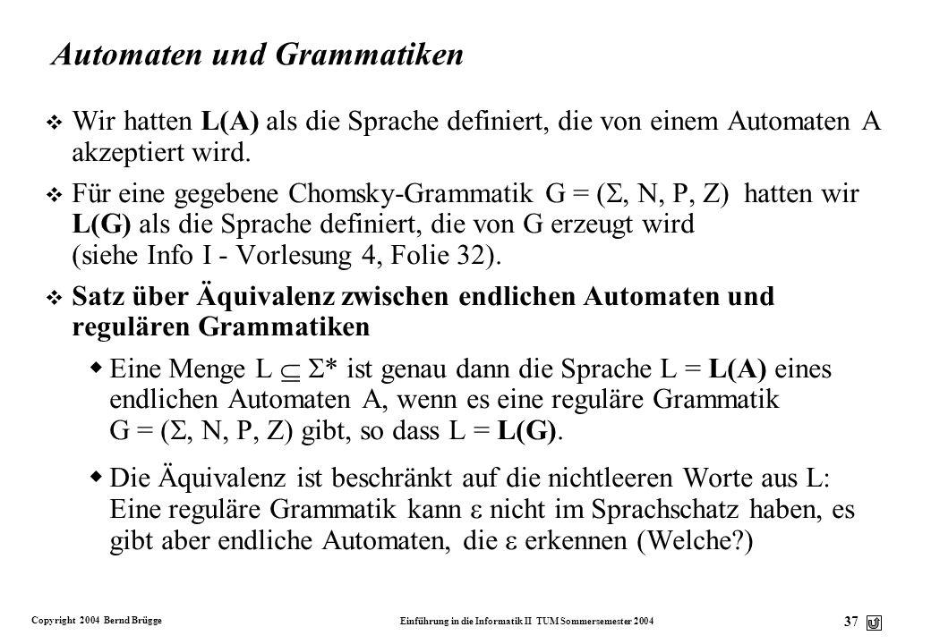Copyright 2004 Bernd Brügge Einführung in die Informatik II TUM Sommersemester 2004 36 Regulär oder nicht regulär? P = {A aB, A a, B aB} P = {A Ba, B
