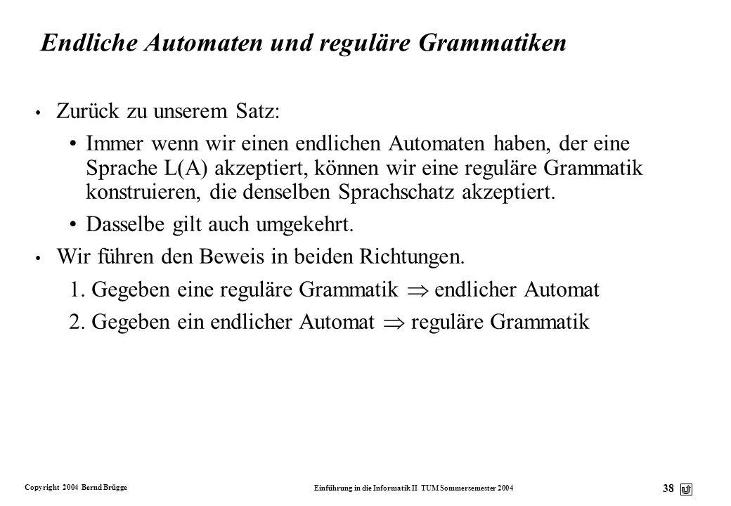 Copyright 2004 Bernd Brügge Einführung in die Informatik II TUM Sommersemester 2004 37 Automaten und Grammatiken v Wir hatten L(A) als die Sprache def